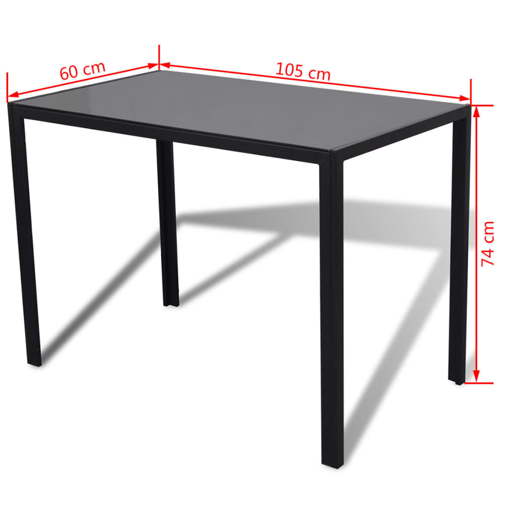 Five Piece Dining Table Set Black and White 8