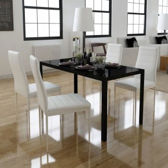 Five Piece Dining Table Set Black and White 1