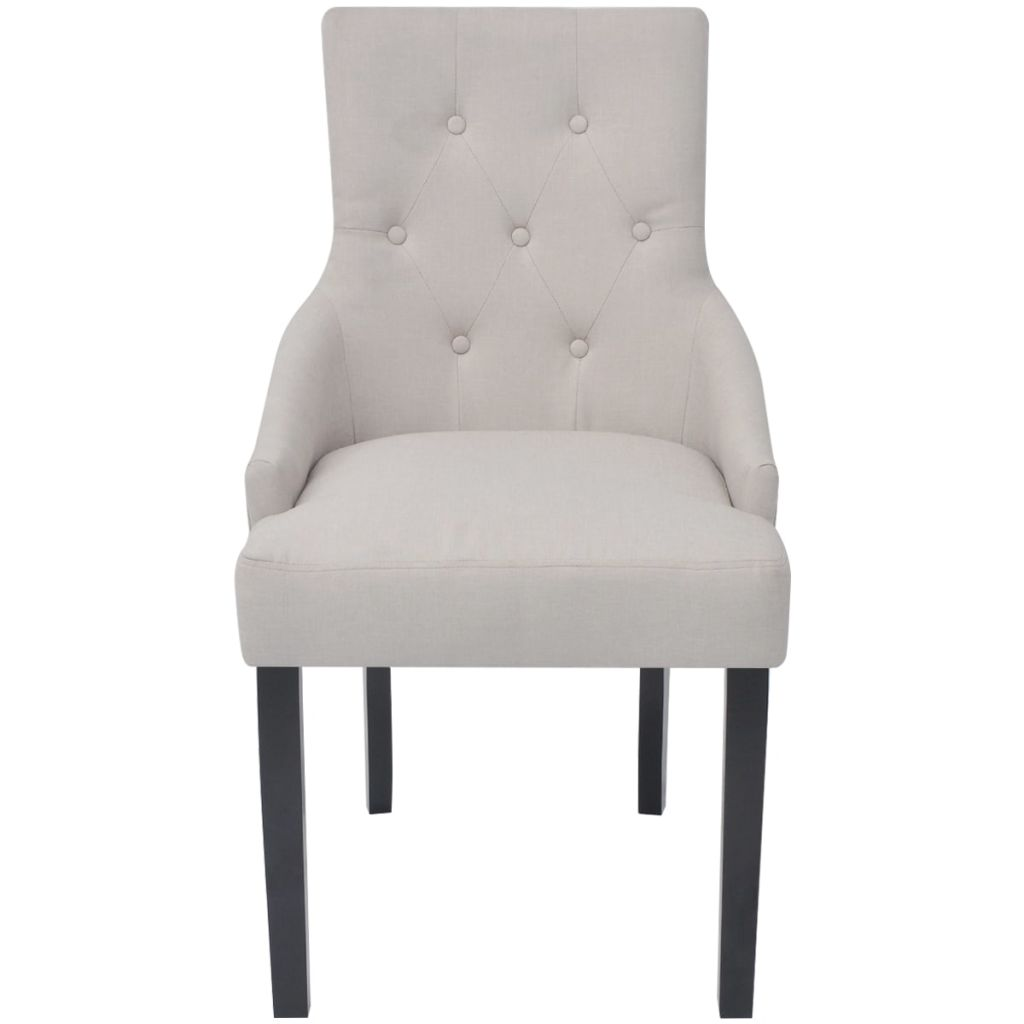 Dining Chairs 4 pcs Cream Fabric 4