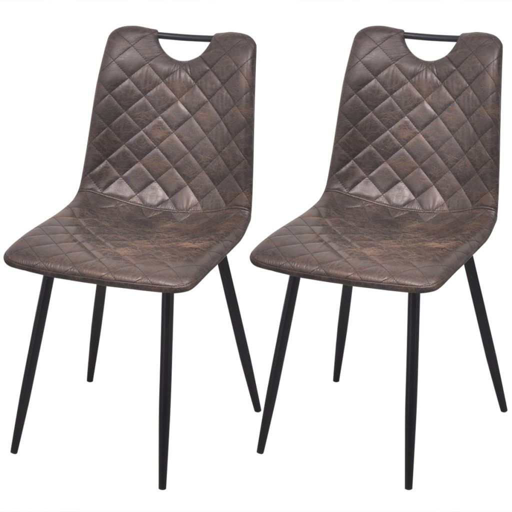 Dining Chairs 2 pcs Dark Brown Faux Leather
