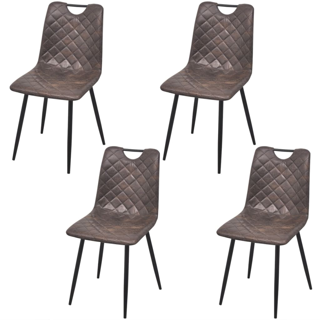 Dining Chairs 4 pcs Dark Brown Faux Leather 1