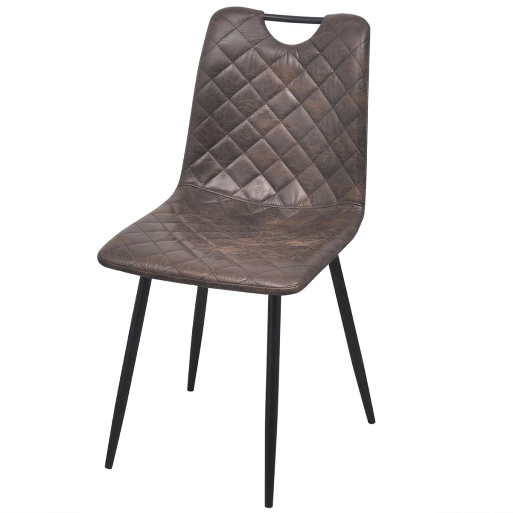 Dining Chairs 4 pcs Dark Brown Faux Leather 2