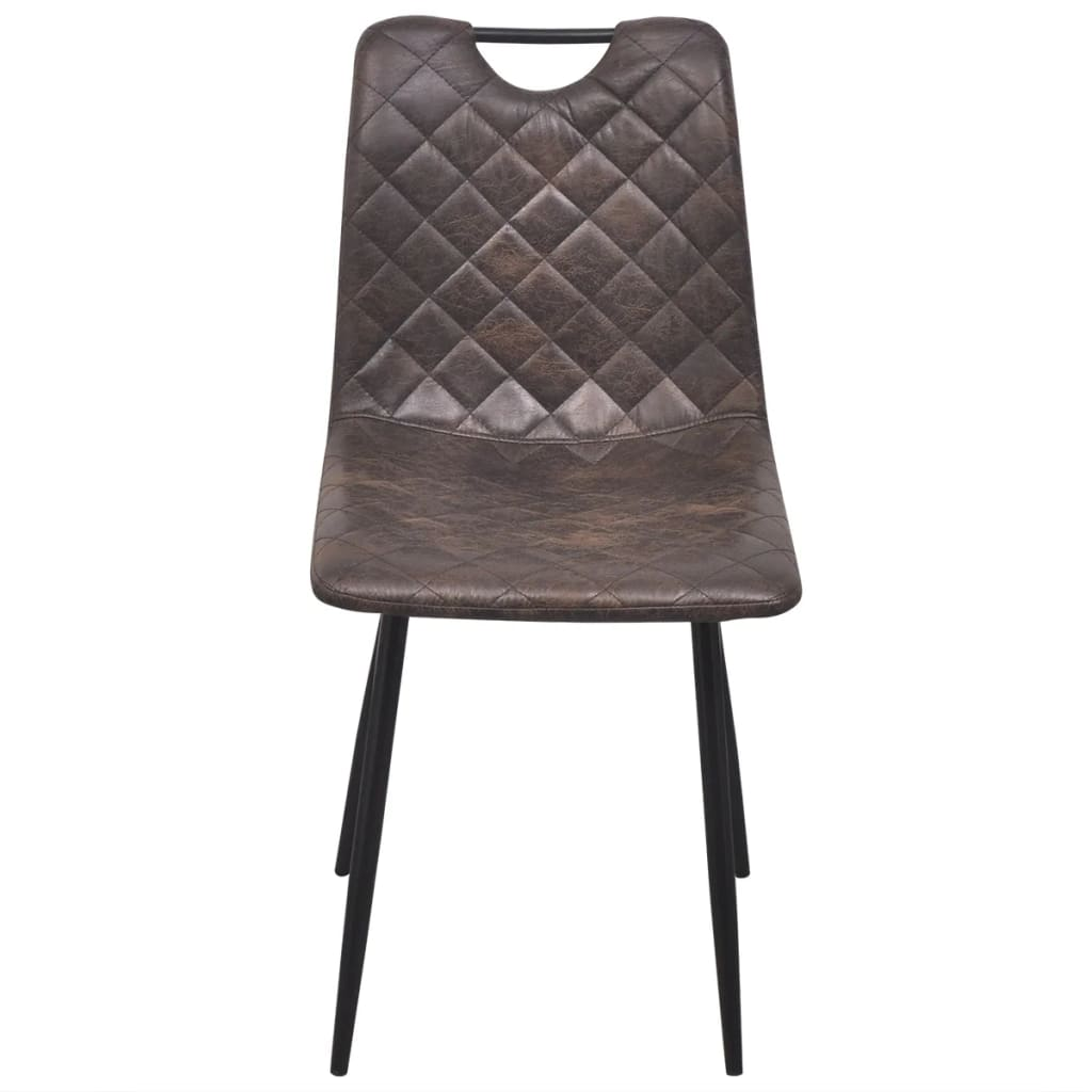 Dining Chairs 4 pcs Dark Brown Faux Leather 3