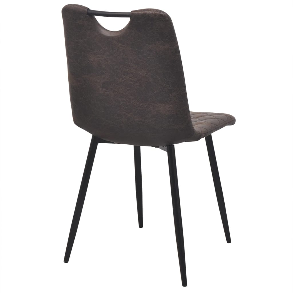 Dining Chairs 4 pcs Dark Brown Faux Leather 5