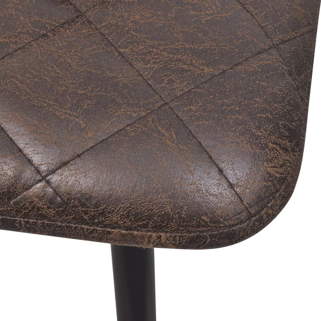 Dining Chairs 4 pcs Dark Brown Faux Leather 6