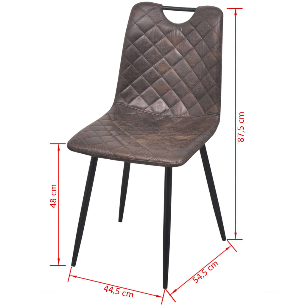 Dining Chairs 4 pcs Dark Brown Faux Leather 7