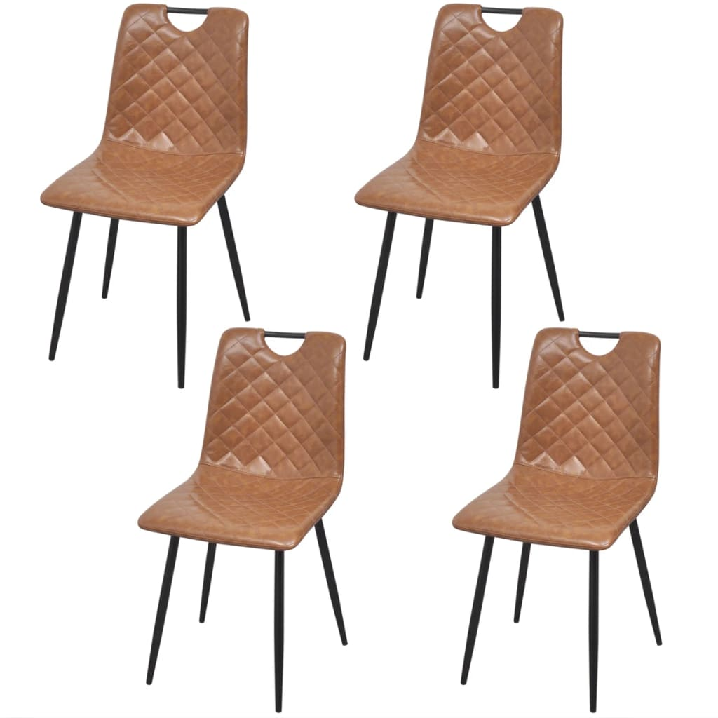 Dining Chairs 4 pcs Light Brown Faux Leather 1