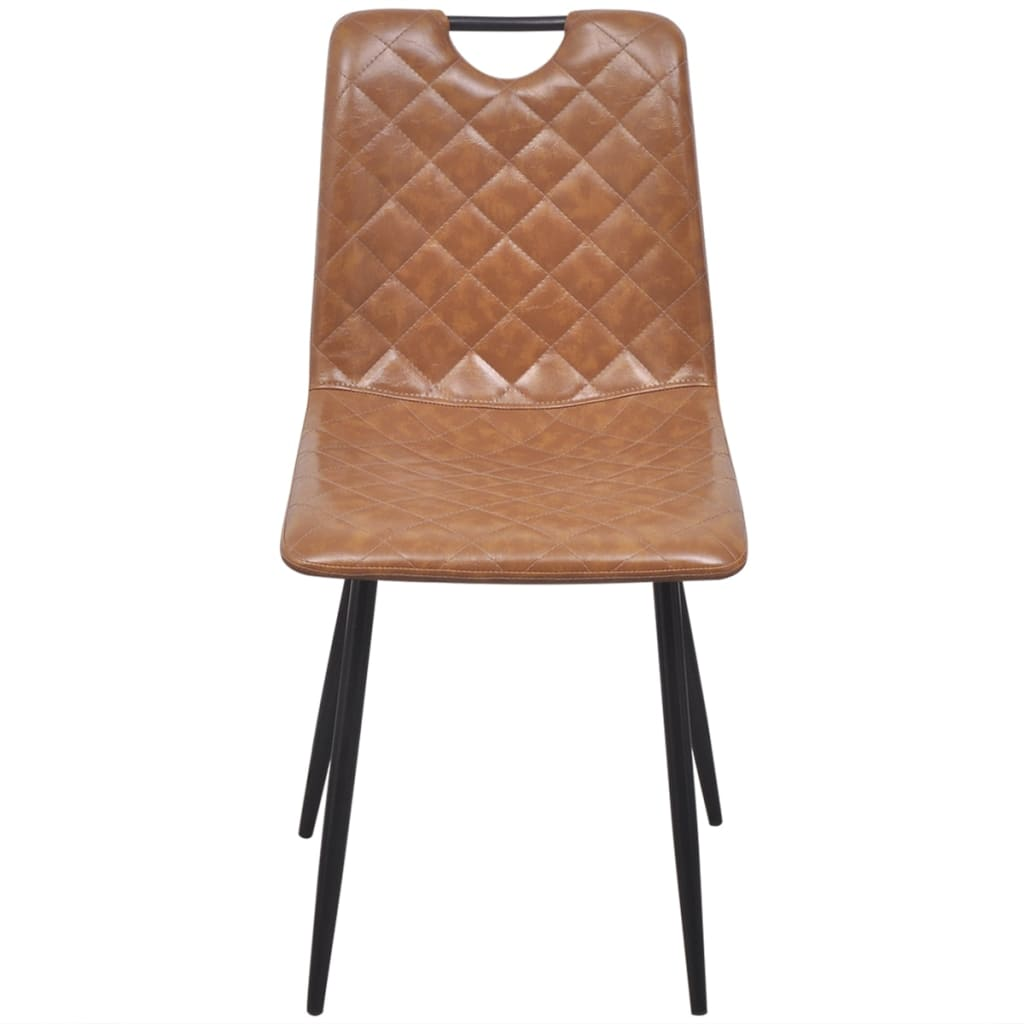 Dining Chairs 4 pcs Light Brown Faux Leather 2