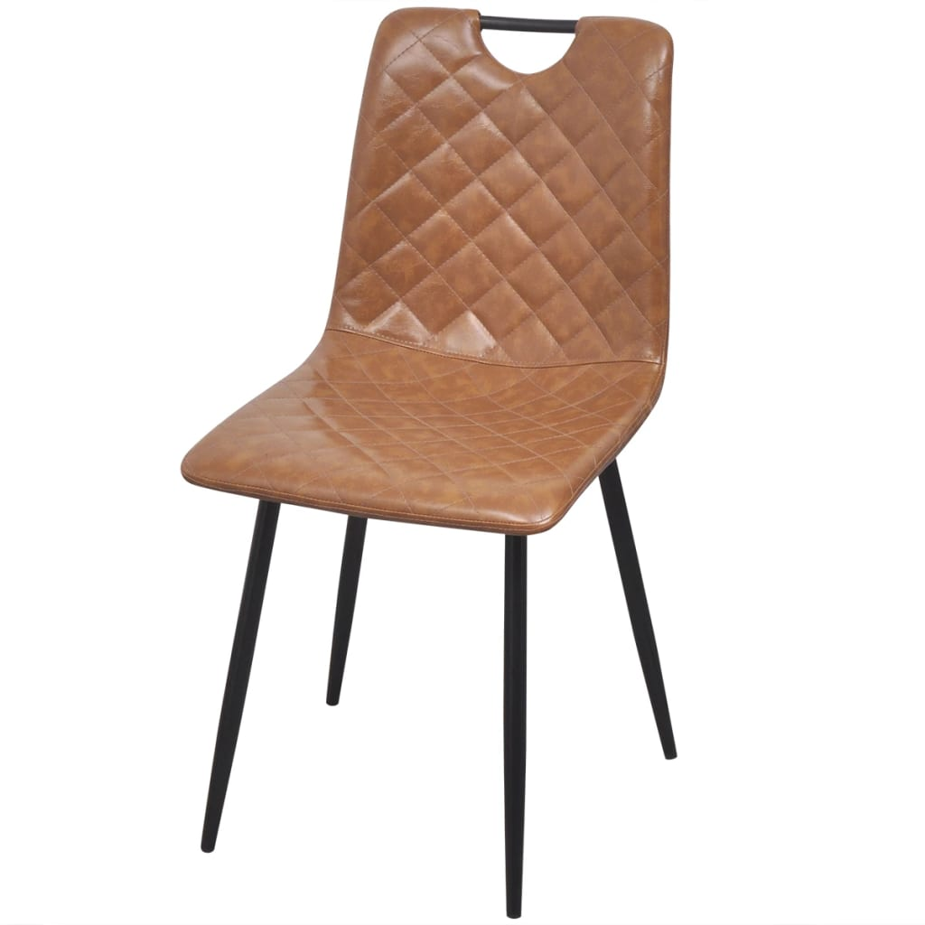 Dining Chairs 4 pcs Light Brown Faux Leather 3