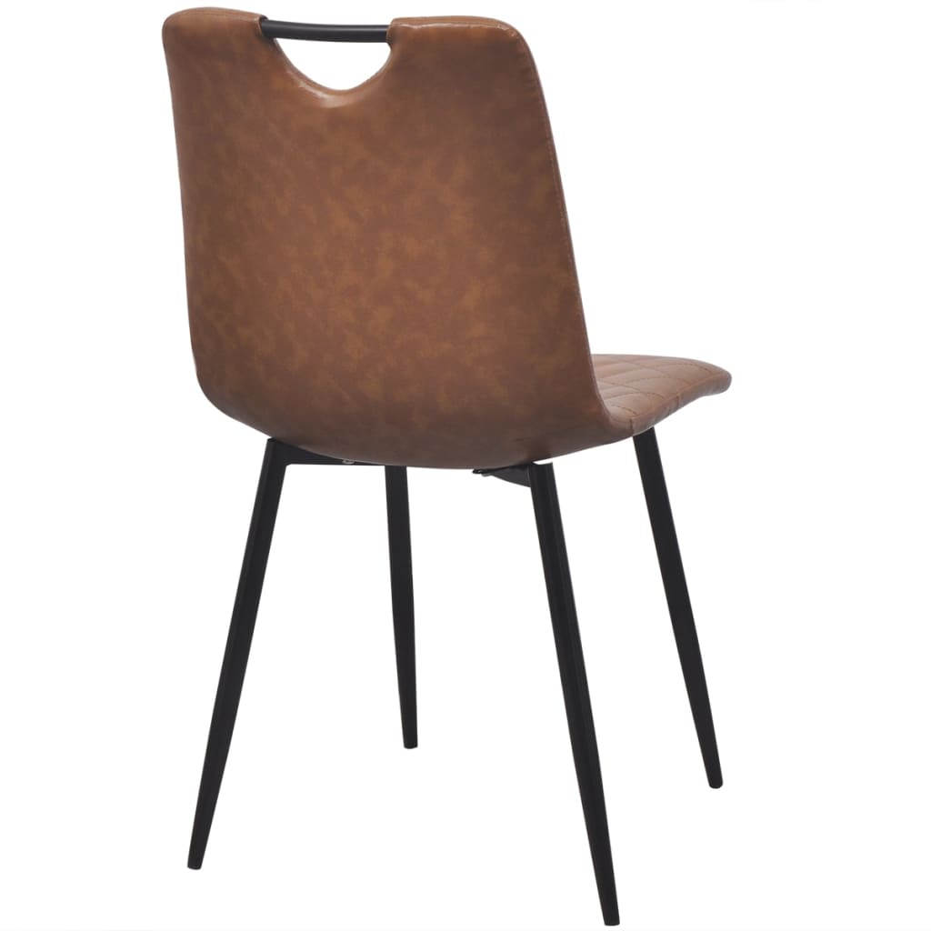 Dining Chairs 4 pcs Light Brown Faux Leather 5