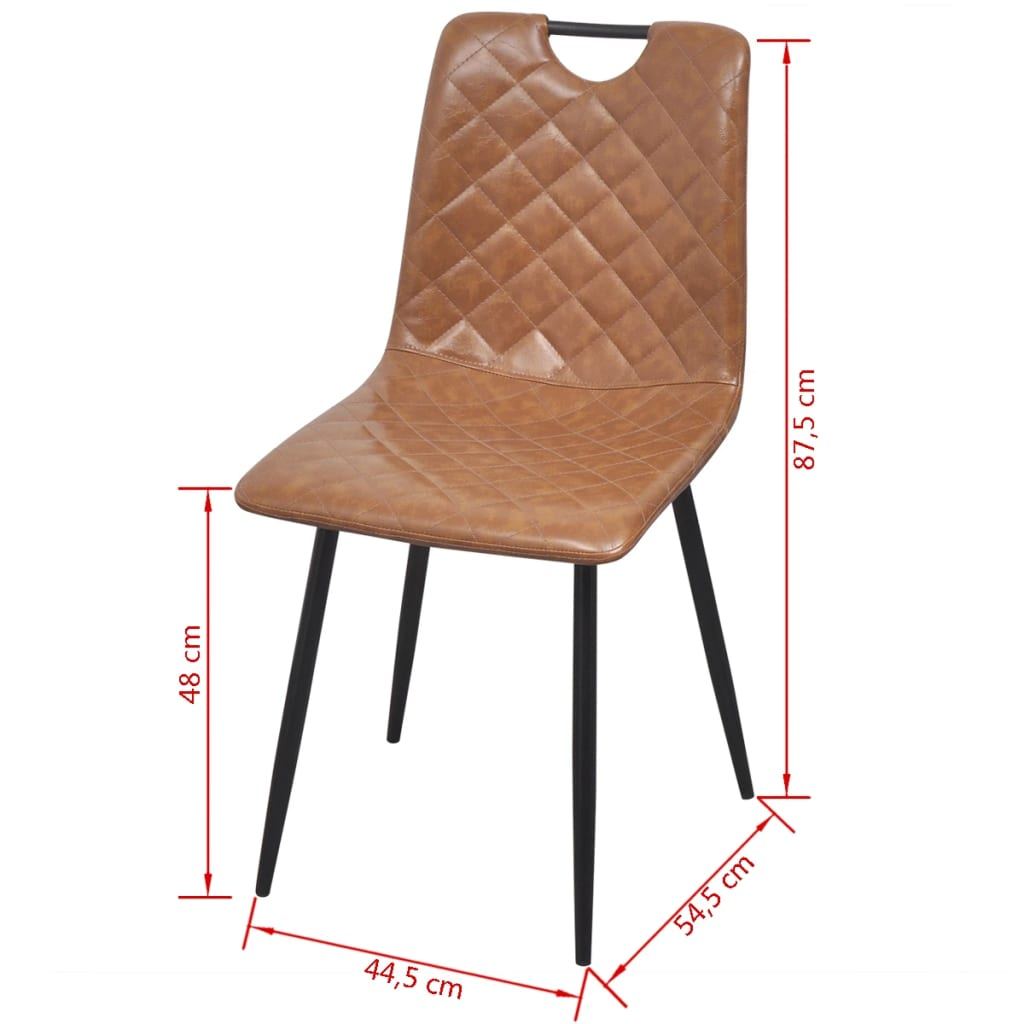 Dining Chairs 4 pcs Light Brown Faux Leather 7