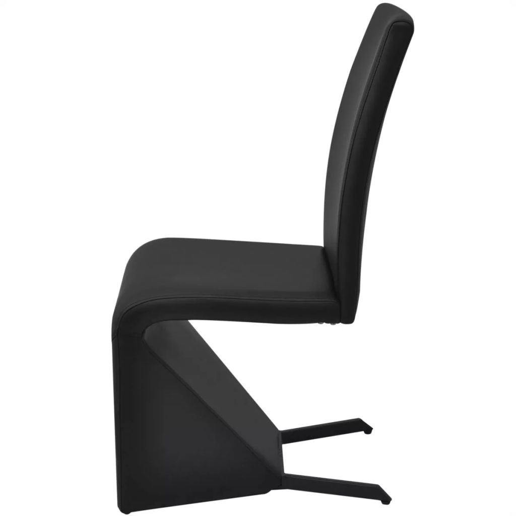 Dining Chairs 2 pcs Black Faux Leather 5