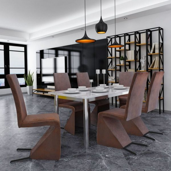 Dining Chairs 2 pcs Brown Fabric 2