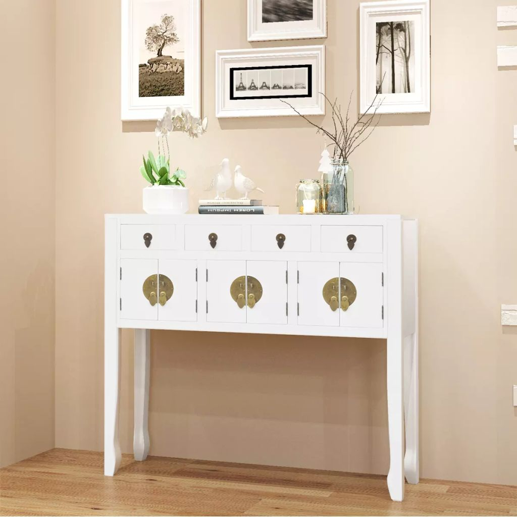 Sideboard Chinese Style Solid Wood White 1