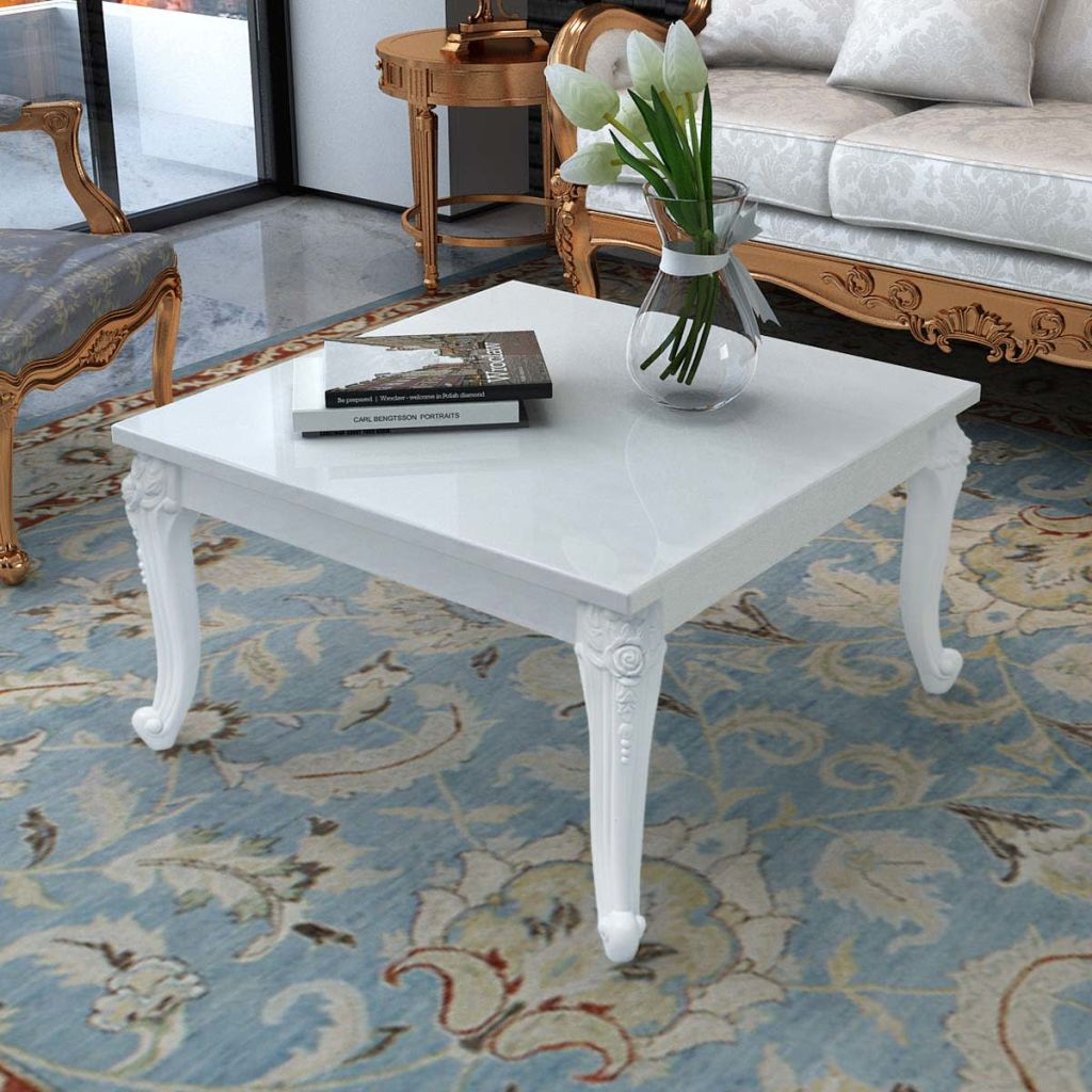 Coffee Table 80x80x42 cm High Gloss White