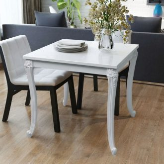 Dining Table 80x80x76 cm High Gloss White 1