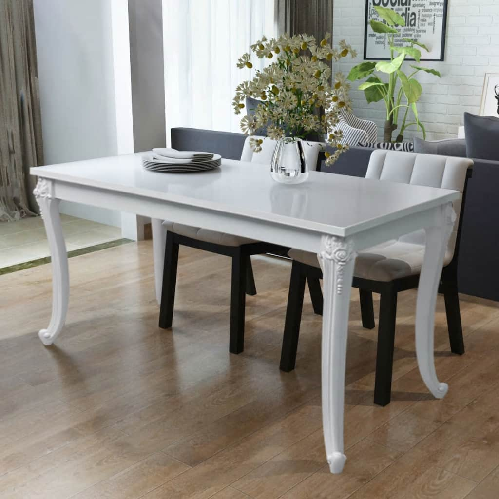 Dining Table 116x66x76 cm High Gloss White 1