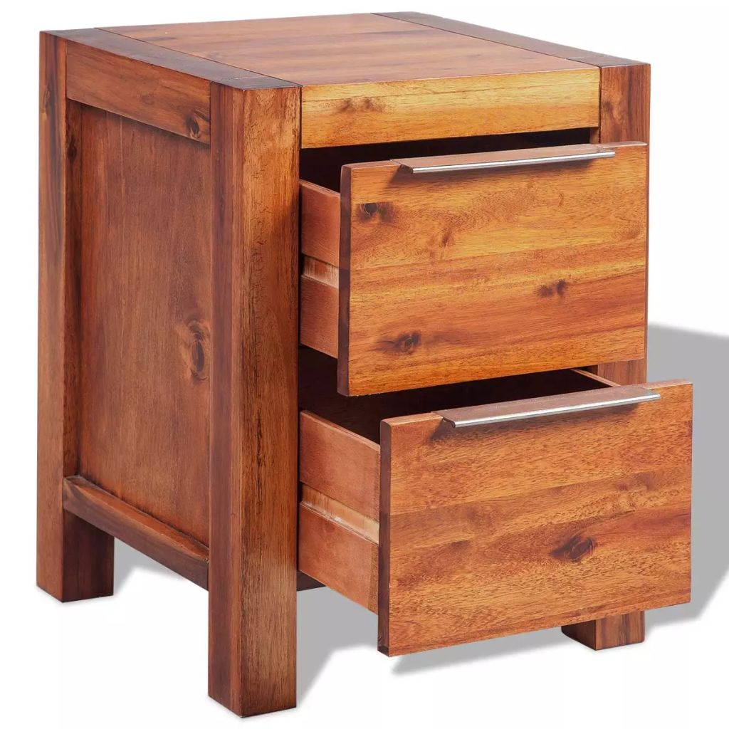 Bedside Cabinet Solid Acacia Wood Brown 45x42x58 cm 4