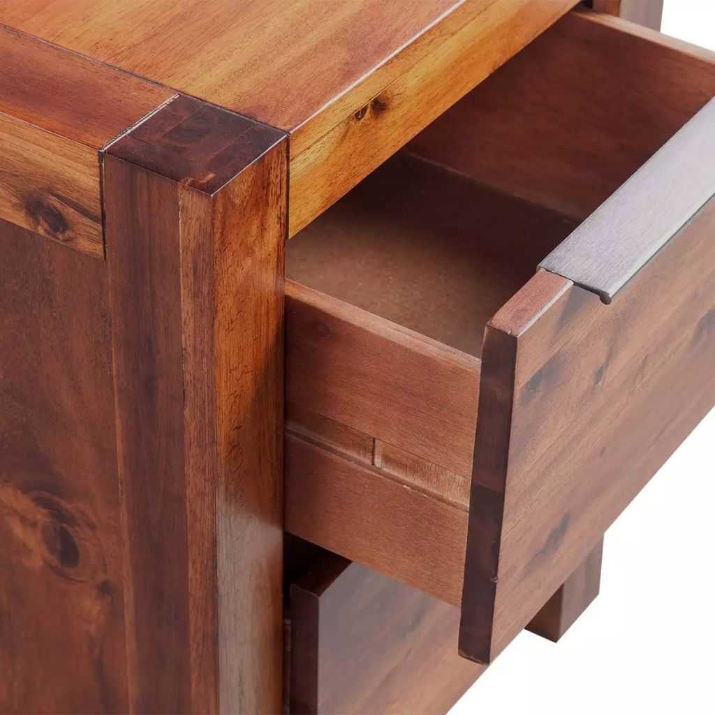 Bedside Cabinet Solid Acacia Wood Brown 45x42x58 cm 5