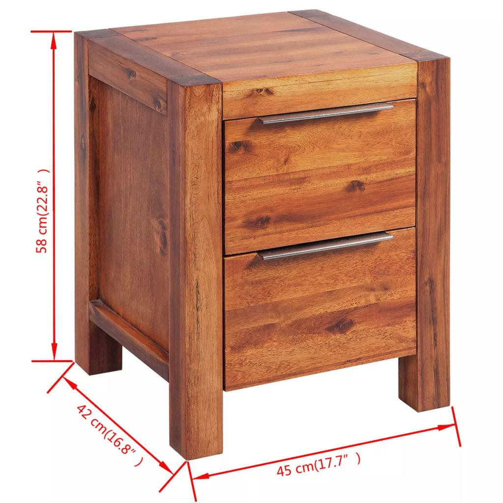Bedside Cabinet Solid Acacia Wood Brown 45x42x58 cm 6