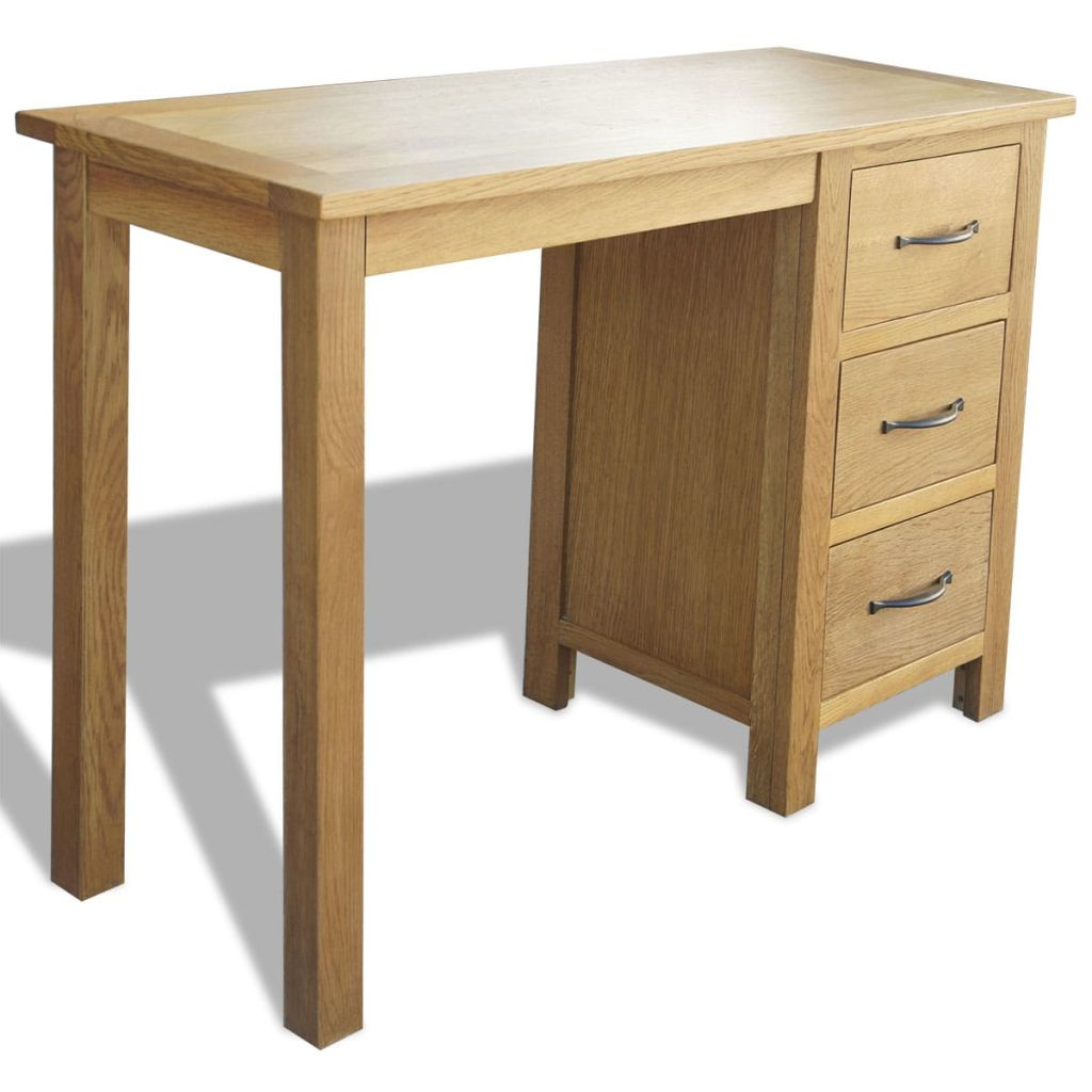 Desk with 3 Drawers 106x40x75 cm Solid Oak Wood 1