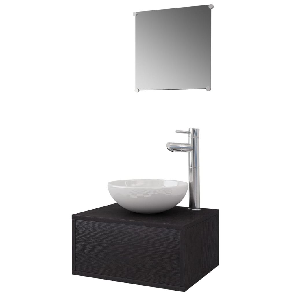 Four Piece Bathroom Furniture Set with Basin with Tap Black 2