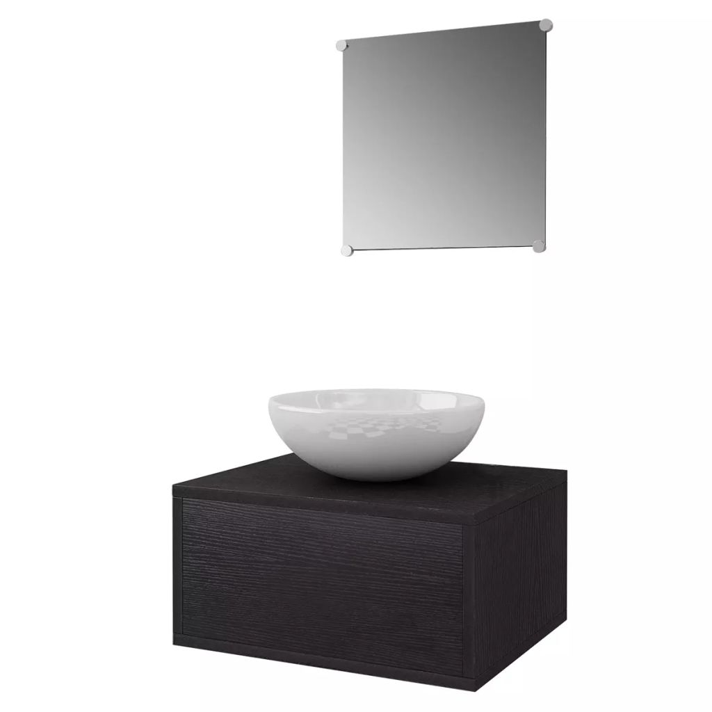 Four Piece Bathroom Furniture Set with Basin with Tap Black 3