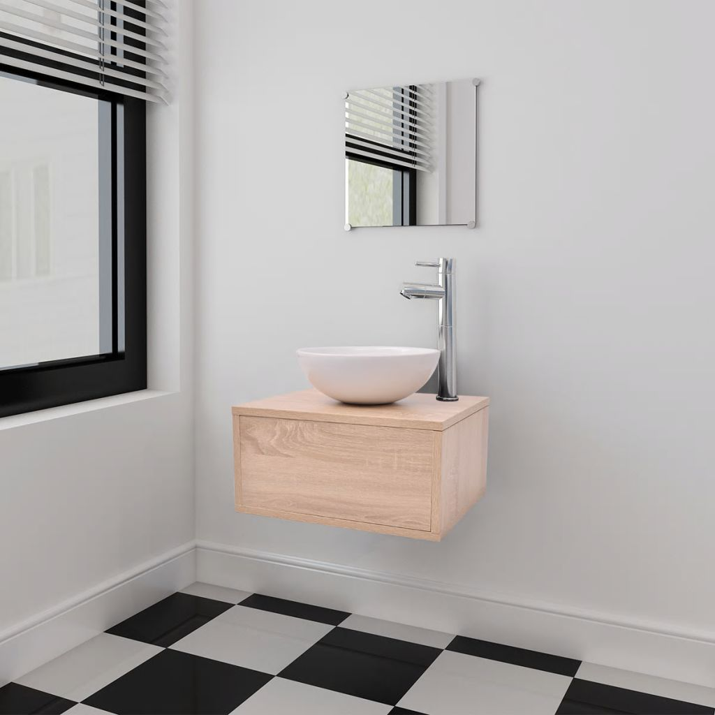 Four Piece Bathroom Furniture Set with Basin with Tap Beige 1