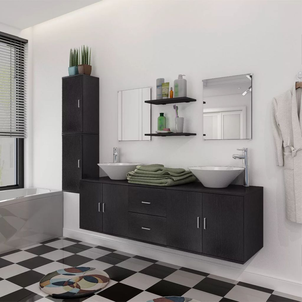 11 Piece Bathroom Furniture Set with Basin with Tap Black 1