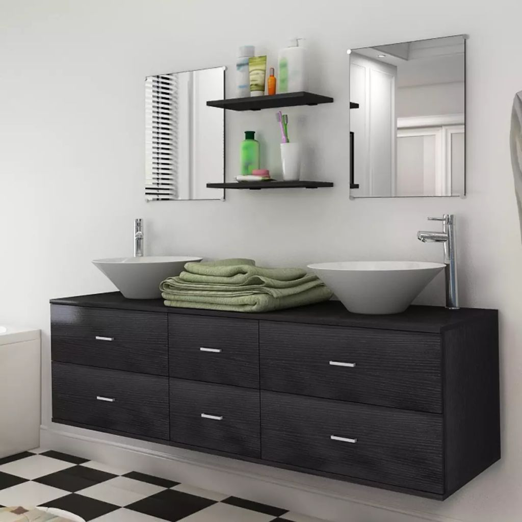 Nine Piece Bathroom Furniture Set with Basin with Tap Black 1