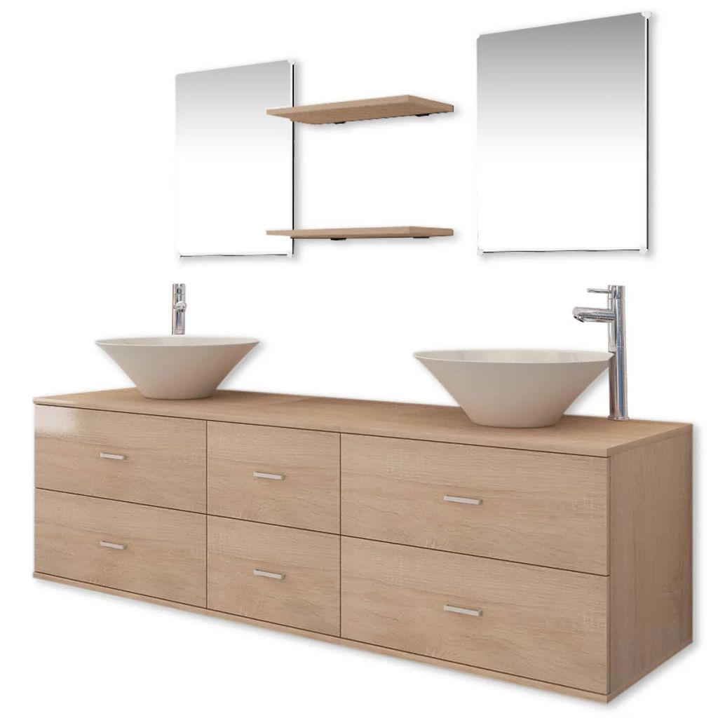 Nine Piece Bathroom Furniture Set with Basin with Tap Beige 2