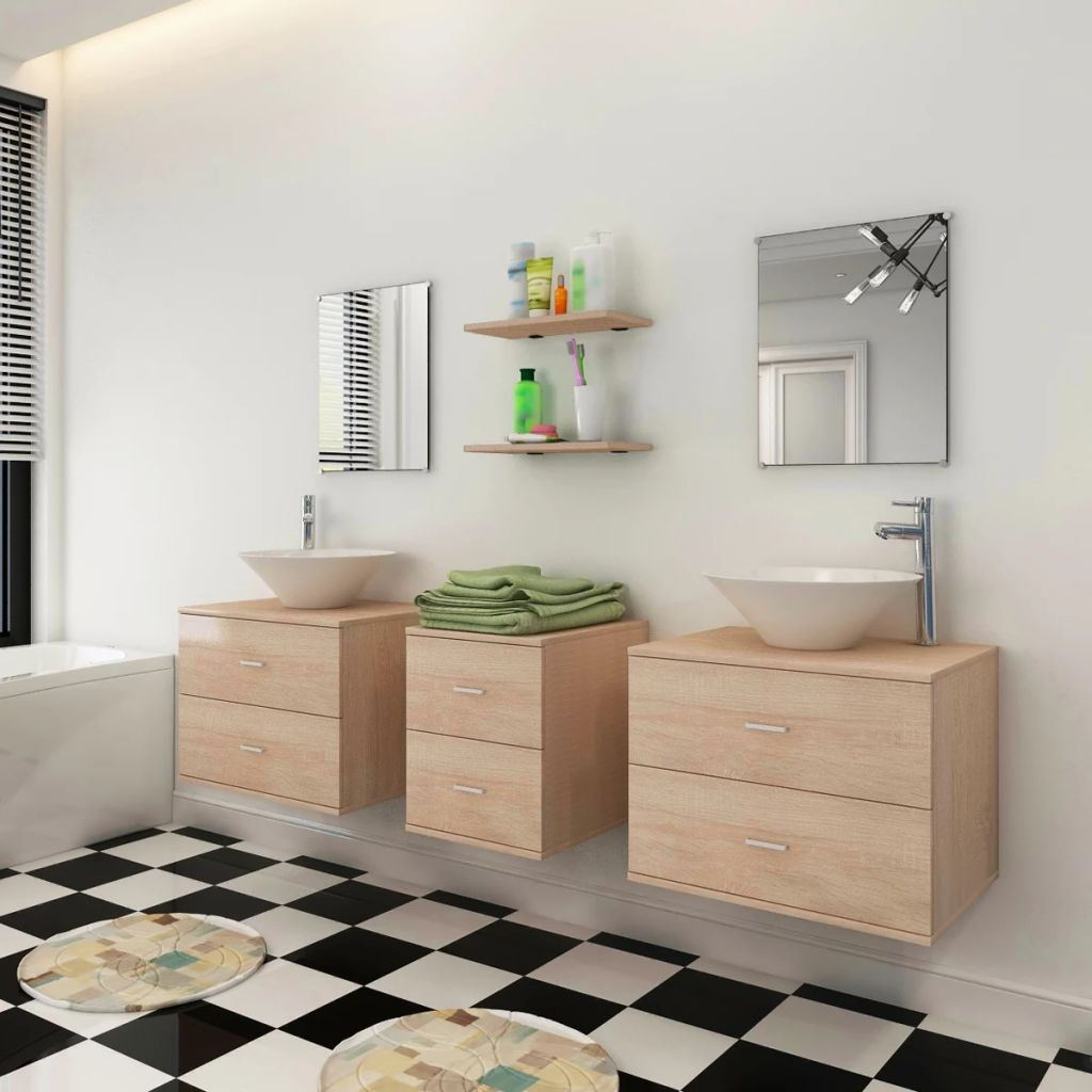 Nine Piece Bathroom Furniture Set with Basin with Tap Beige 3