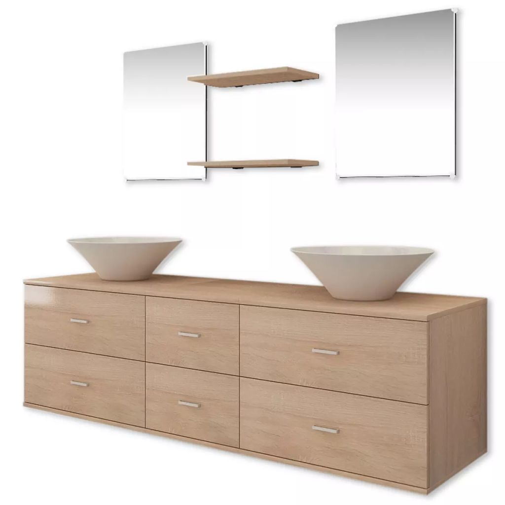 Nine Piece Bathroom Furniture Set with Basin with Tap Beige 4