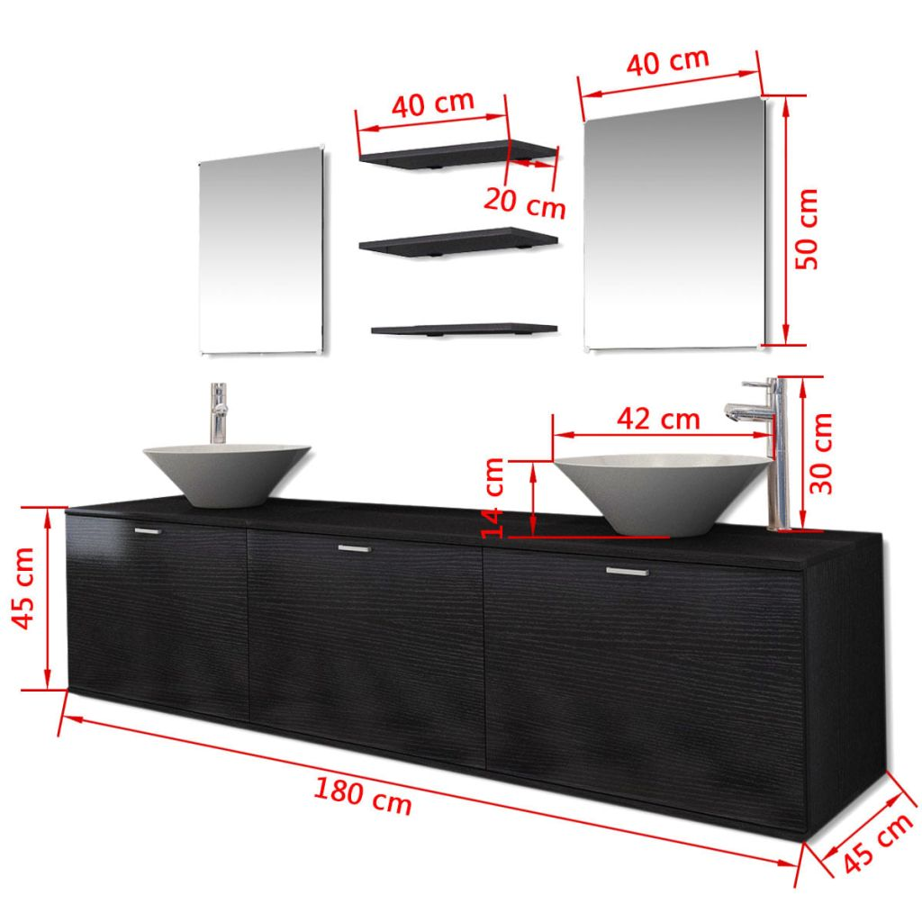 Ten Piece Bathroom Furniture Set with Basin with Tap Black 11