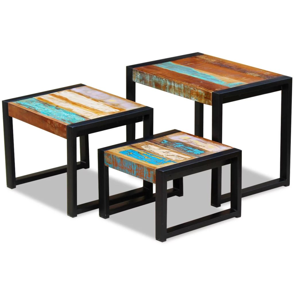 Three Piece Nesting Tables Solid Reclaimed Wood 1