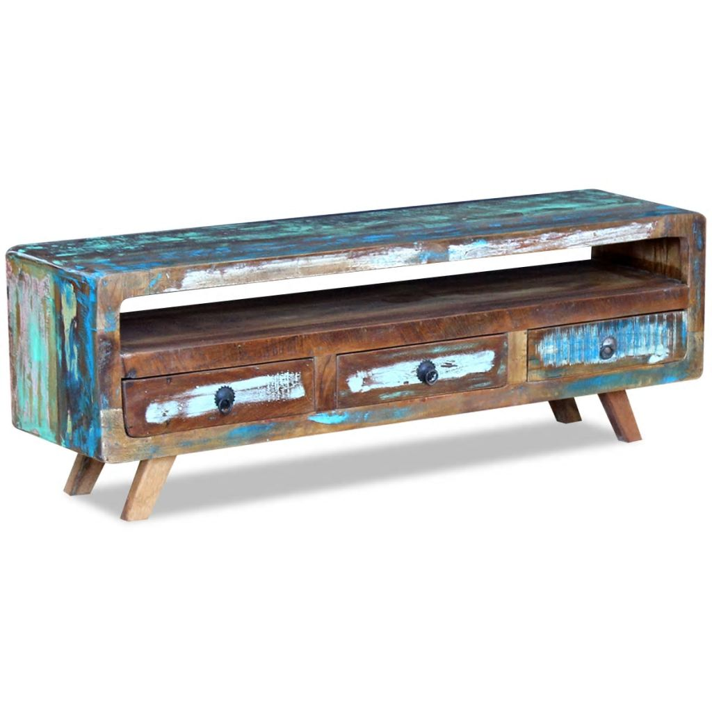 TV Cabinet with 3 Drawers Solid Reclaimed Wood 2