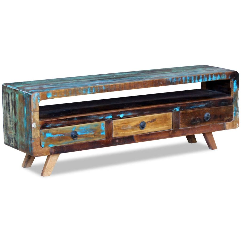 TV Cabinet with 3 Drawers Solid Reclaimed Wood 3