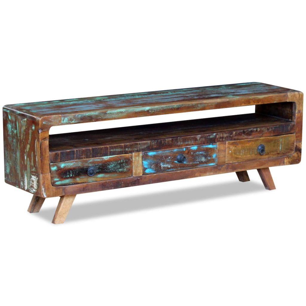TV Cabinet with 3 Drawers Solid Reclaimed Wood 5