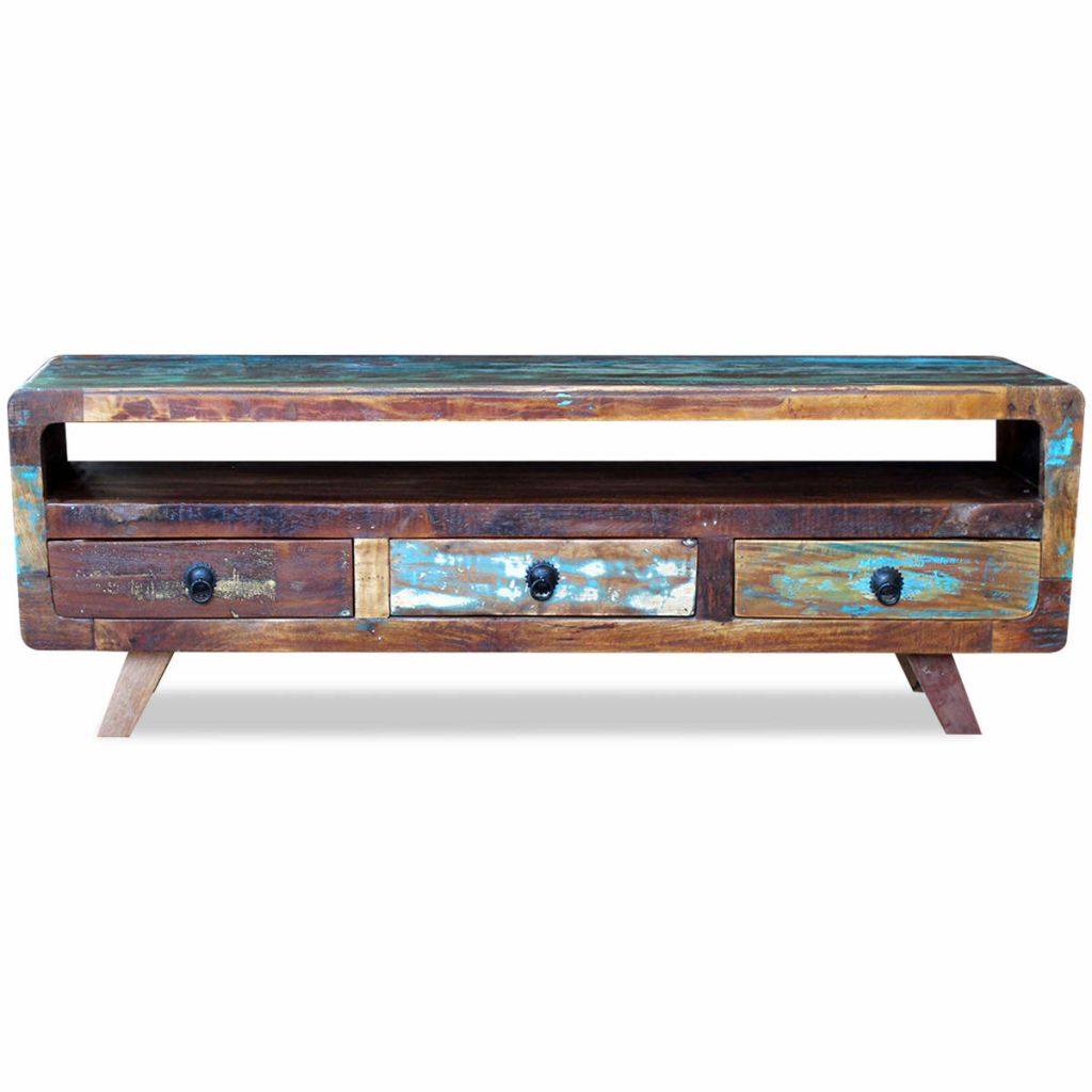 TV Cabinet with 3 Drawers Solid Reclaimed Wood 6