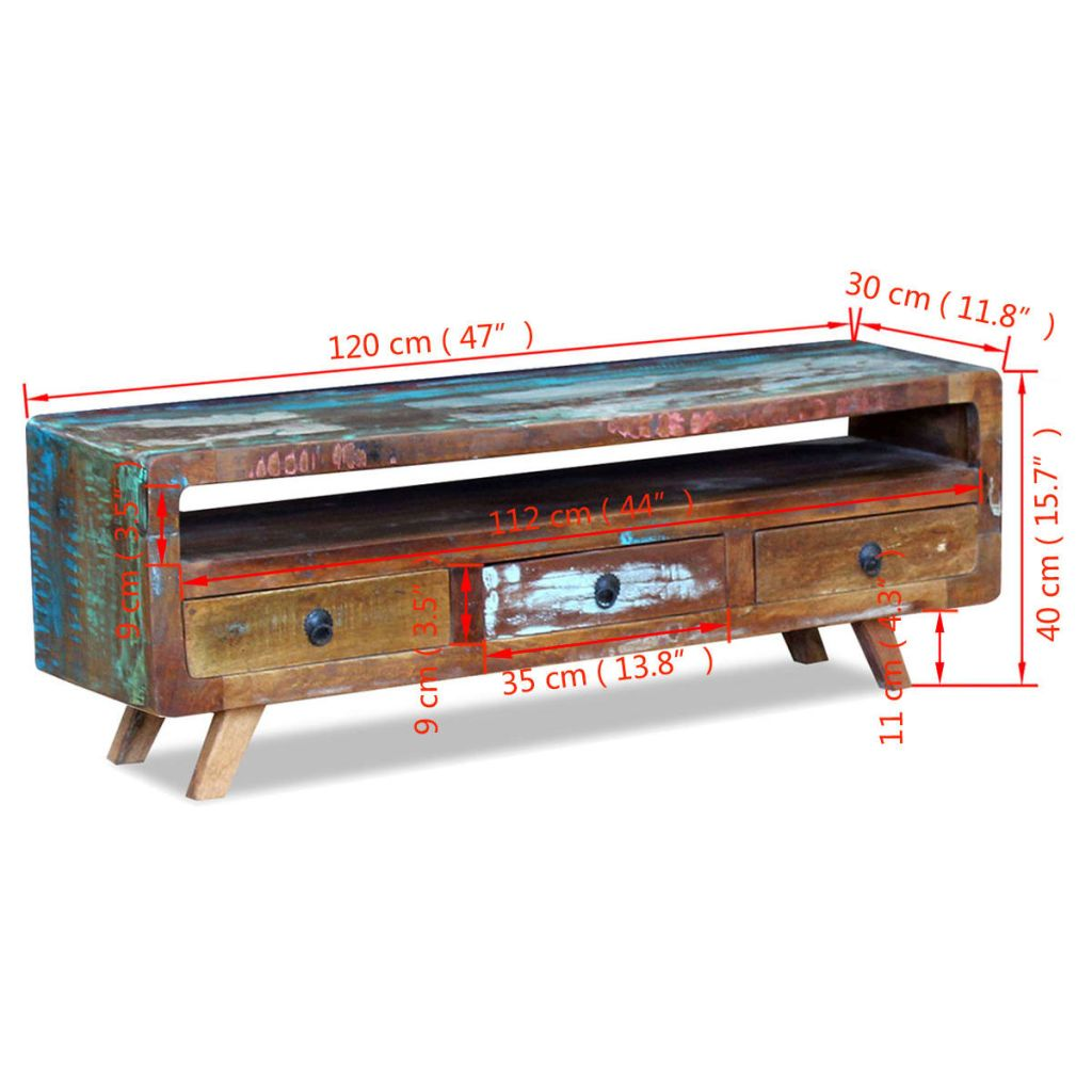 TV Cabinet with 3 Drawers Solid Reclaimed Wood 8