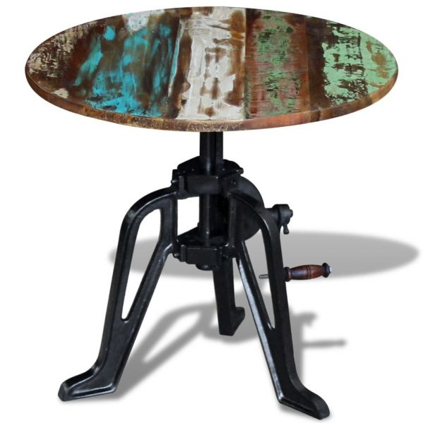Side Table Solid Reclaimed Wood Cast Iron 60x(42-63) cm 3