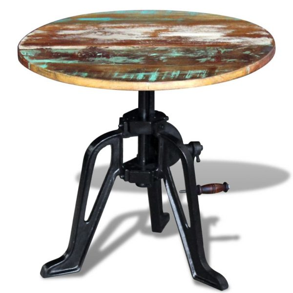 Side Table Solid Reclaimed Wood Cast Iron 60x(42-63) cm 4