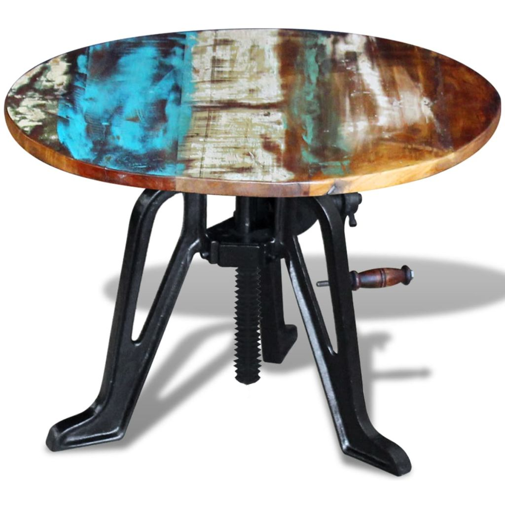 Side Table Solid Reclaimed Wood Cast Iron 60x(42-63) cm 6