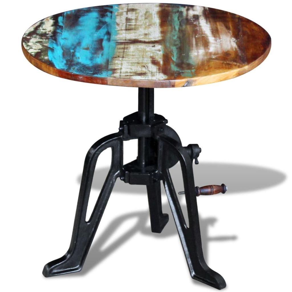 Side Table Solid Reclaimed Wood Cast Iron 60x(42-63) cm 7