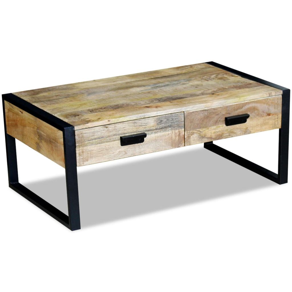 Coffee Table with 2 Drawers Solid Mango Wood 100x60x40 cm