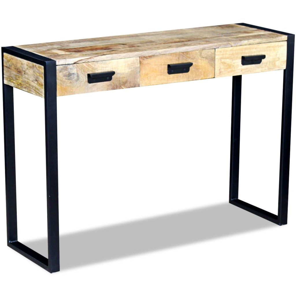 Console Table with 3 Drawers Solid Mango Wood 110x35x78 cm 2