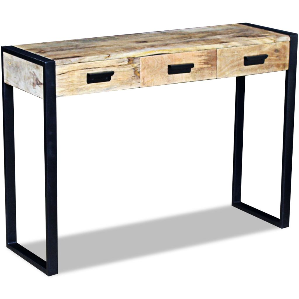 Console Table with 3 Drawers Solid Mango Wood 110x35x78 cm 3