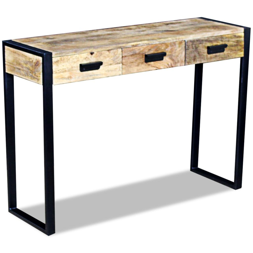 Console Table with 3 Drawers Solid Mango Wood 110x35x78 cm 4