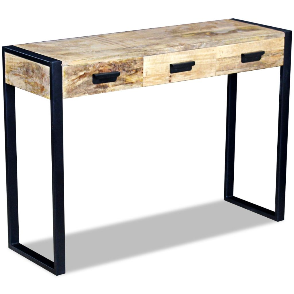 Console Table with 3 Drawers Solid Mango Wood 110x35x78 cm 5