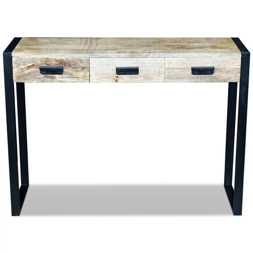 Console Table with 3 Drawers Solid Mango Wood 110x35x78 cm 6